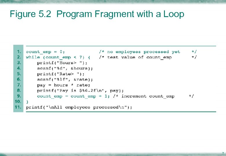 Figure 5. 2 Program Fragment with a Loop 7