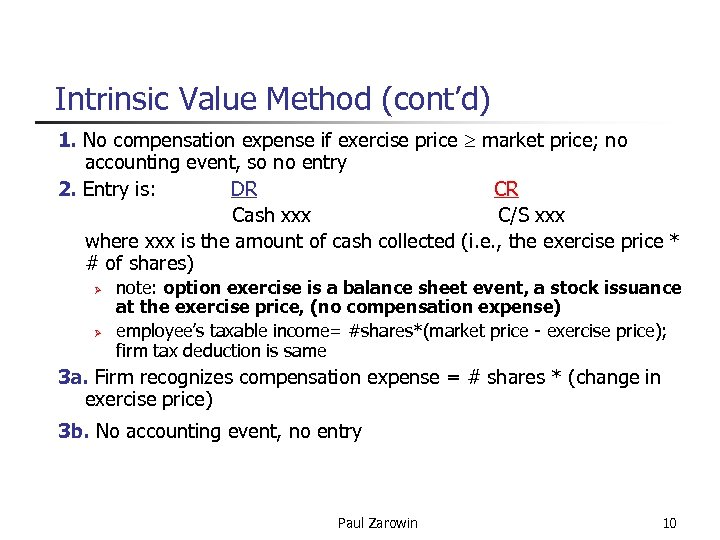 Intrinsic Value Method (cont'd) 1. No compensation expense if exercise price market price; no
