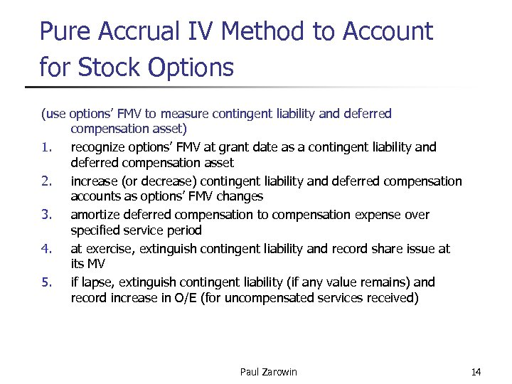 Pure Accrual IV Method to Account for Stock Options (use options' FMV to measure