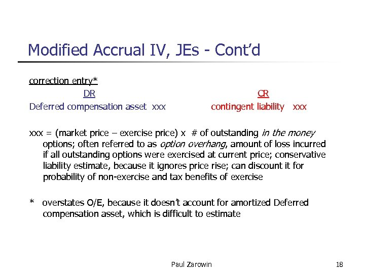 Modified Accrual IV, JEs - Cont'd correction entry* DR CR Deferred compensation asset xxx