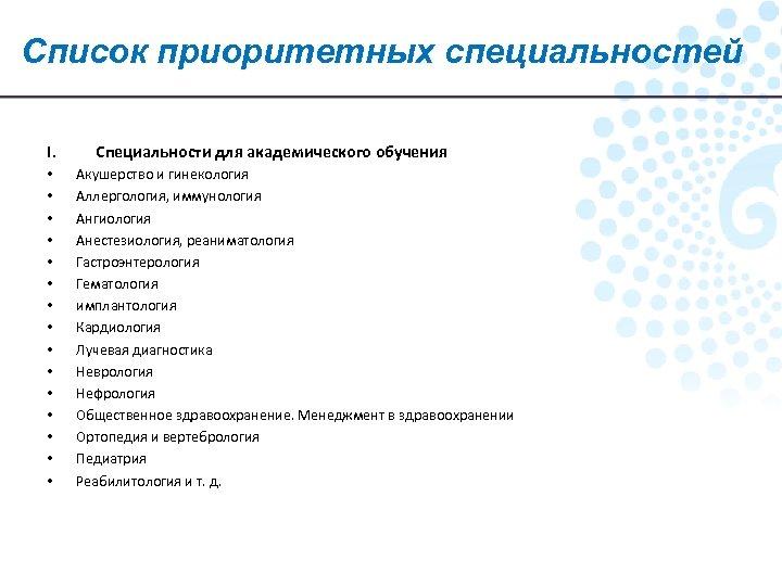 Список приоритетных специальностей I. • • • • Специальности для академического обучения Акушерство и