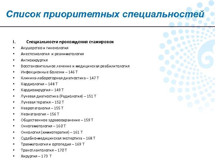 Список приоритетных специальностей I. • • • • • Специальности прохождения стажировок Акушерство и