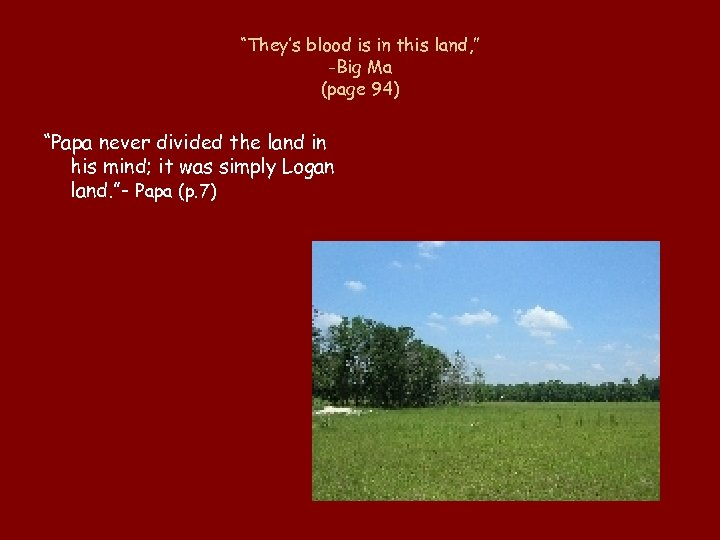 """They's blood is in this land, "" -Big Ma (page 94) ""Papa never divided"