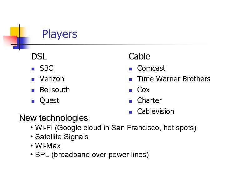 Players DSL n n SBC Verizon Bellsouth Quest New technologies: Cable n n n