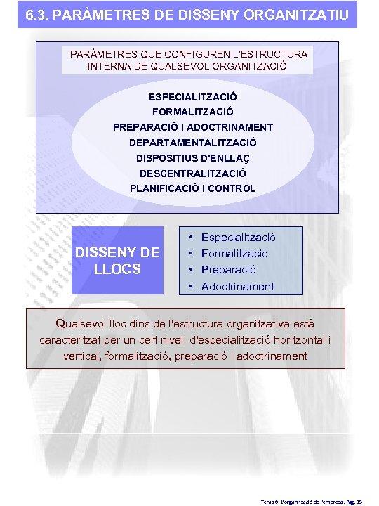 6. 3. PARÀMETRES DE DISSENY ORGANITZATIU PARÀMETRES QUE CONFIGUREN L'ESTRUCTURA INTERNA DE QUALSEVOL ORGANITZACIÓ