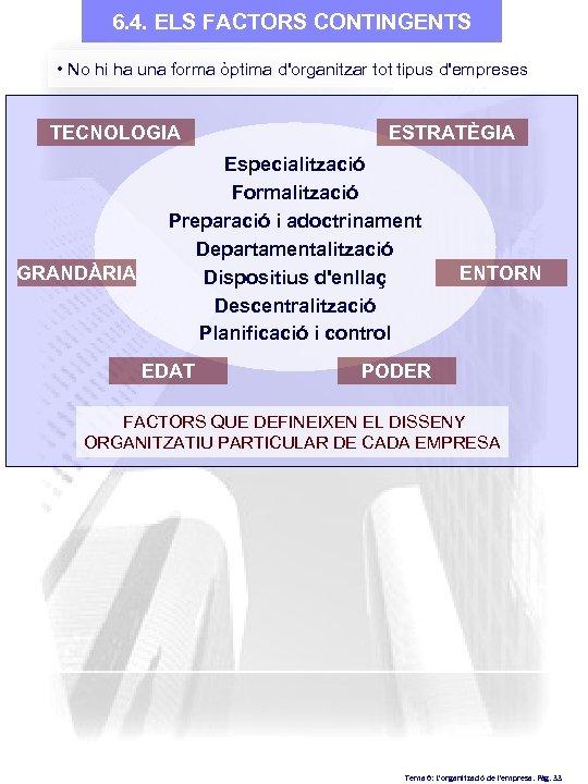 6. 4. ELS FACTORS CONTINGENTS • No hi ha una forma òptima d'organitzar tot