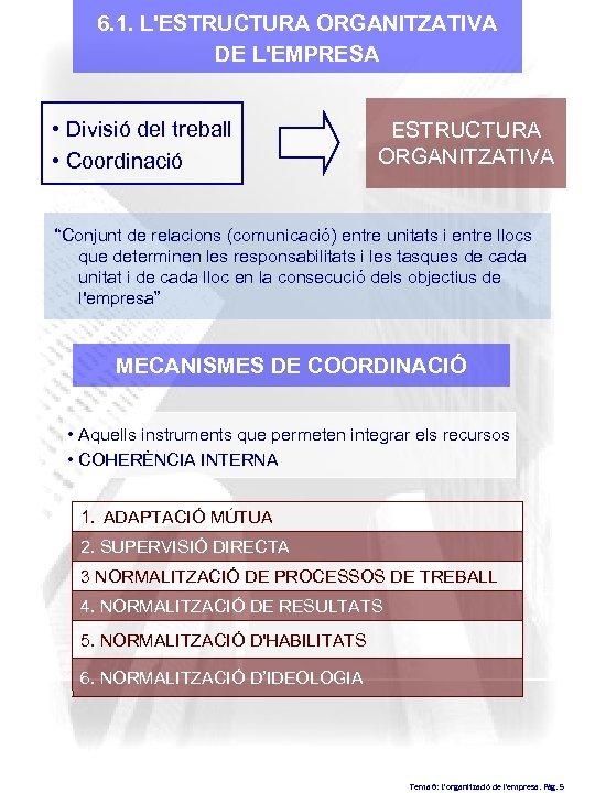 6. 1. L'ESTRUCTURA ORGANITZATIVA DE L'EMPRESA • Divisió del treball • Coordinació ESTRUCTURA ORGANITZATIVA