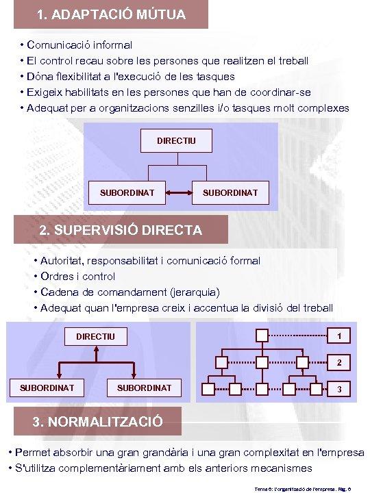 1. ADAPTACIÓ MÚTUA • Comunicació informal • El control recau sobre les persones que