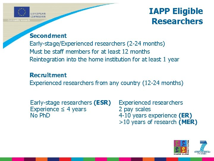 IAPP Eligible Researchers Secondment Early-stage/Experienced researchers (2 -24 months) Must be staff members for