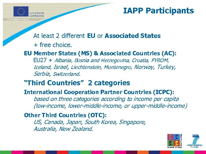 IAPP Participants At least 2 different EU or Associated States + free choice. EU