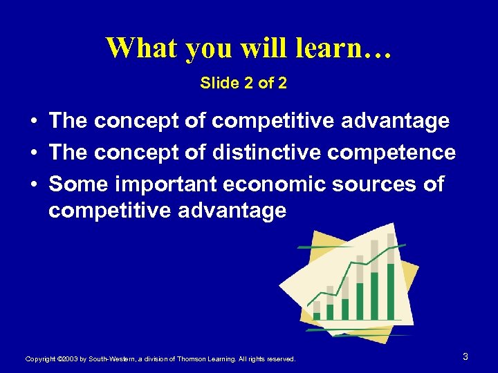 What you will learn… Slide 2 of 2 • The concept of competitive advantage
