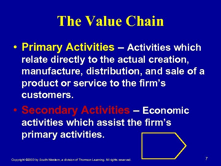 The Value Chain • Primary Activities – Activities which relate directly to the actual
