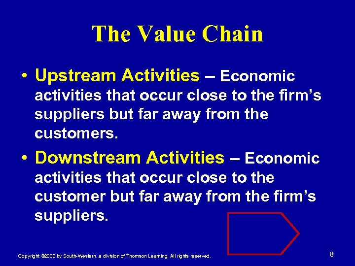The Value Chain • Upstream Activities – Economic activities that occur close to the