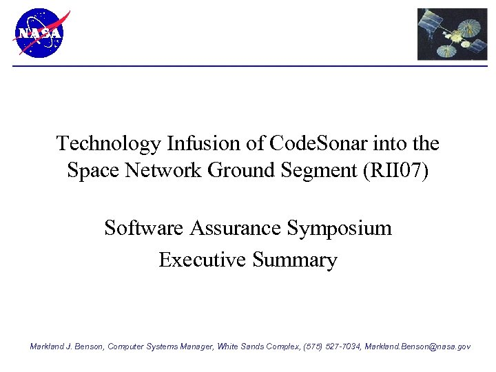 Technology Infusion of Code. Sonar into the Space Network Ground Segment (RII 07) Software