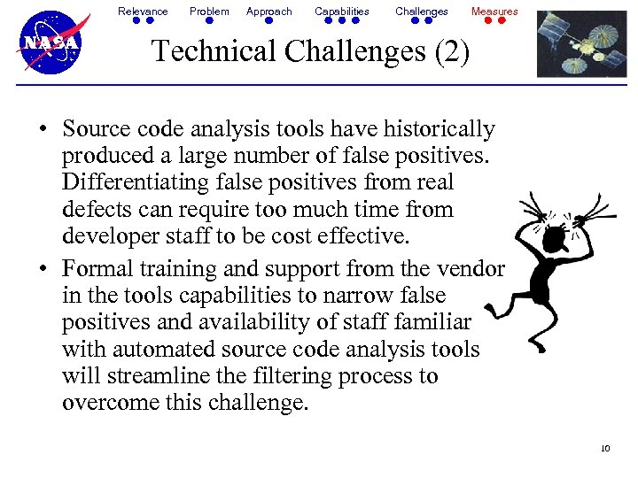Relevance Problem Approach Capabilities Challenges Measures Technical Challenges (2) • Source code analysis tools