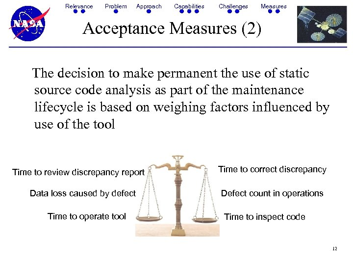 Relevance Problem Approach Capabilities Challenges Measures Acceptance Measures (2) The decision to make permanent