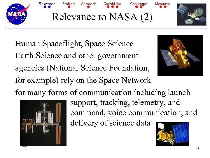 Relevance Problem Approach Capabilities Challenges Measures Relevance to NASA (2) Human Spaceflight, Space Science
