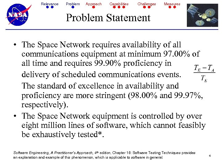 Relevance Problem Approach Capabilities Challenges Measures Problem Statement • The Space Network requires availability