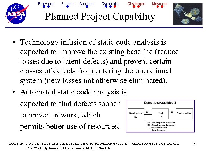 Relevance Problem Approach Capabilities Challenges Measures Planned Project Capability • Technology infusion of static