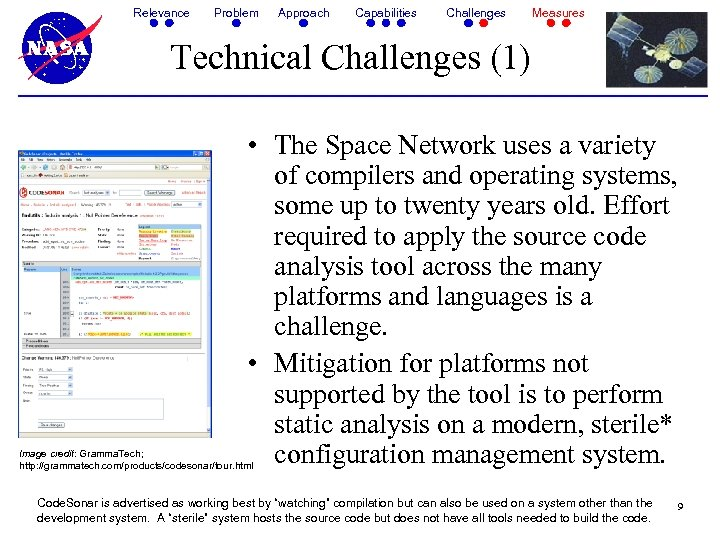 Relevance Problem Approach Capabilities Challenges Measures Technical Challenges (1) • The Space Network uses