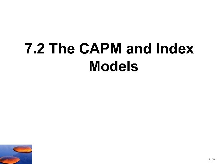 7. 2 The CAPM and Index Models 7 -19