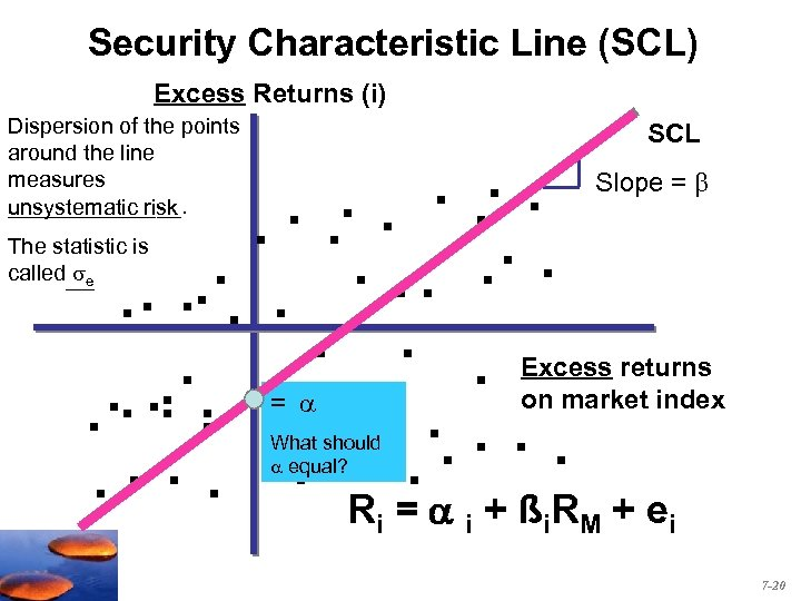 Security Characteristic Line (SCL) Excess Returns (i) Dispersion of the points around the line