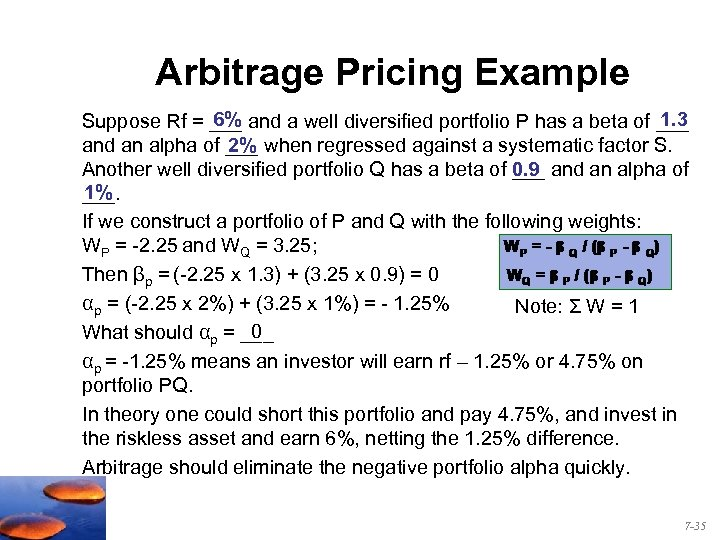 Arbitrage Pricing Example 1. 3 6% Suppose Rf = ___ and a well diversified