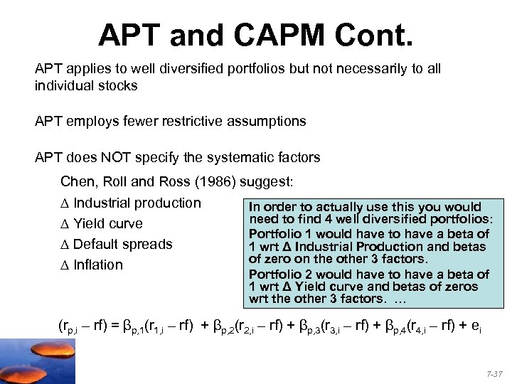 APT and CAPM Cont. APT applies to well diversified portfolios but not necessarily to