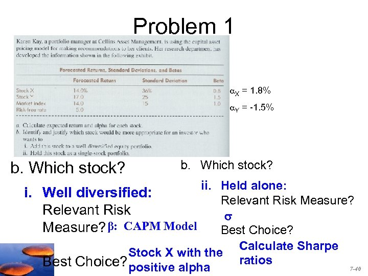 Problem 1 X = 1. 8% Y = -1. 5% b. Which stock? ii.