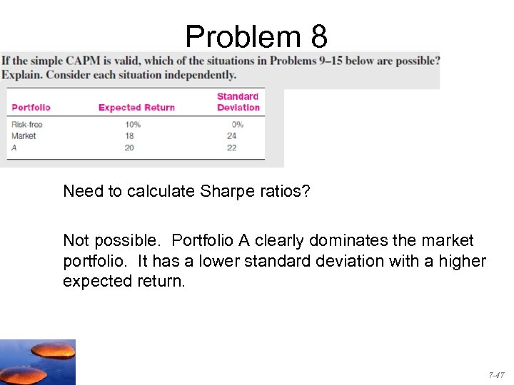 Problem 8 8. Need to calculate Sharpe ratios? Not possible. Portfolio A clearly dominates