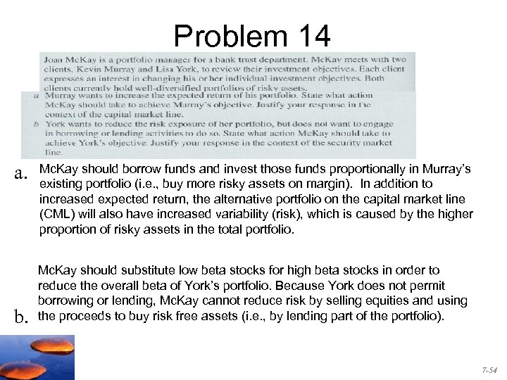 Problem 14 a. b. Mc. Kay should borrow funds and invest those funds proportionally