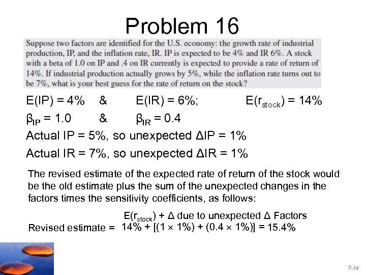 Problem 16 E(IP) = 4% & E(IR) = 6%; E(rstock) = 14% βIP =