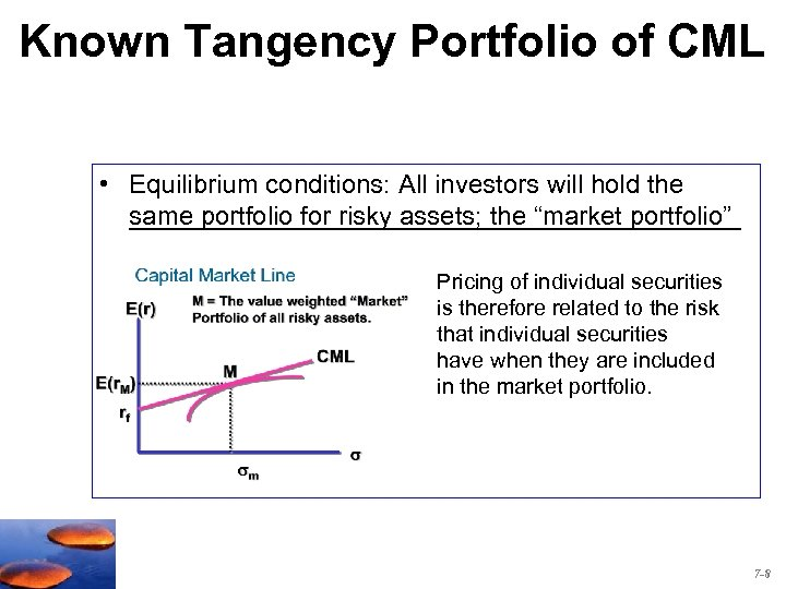 Known Tangency Portfolio of CML • Equilibrium conditions: All investors will hold the _____________________