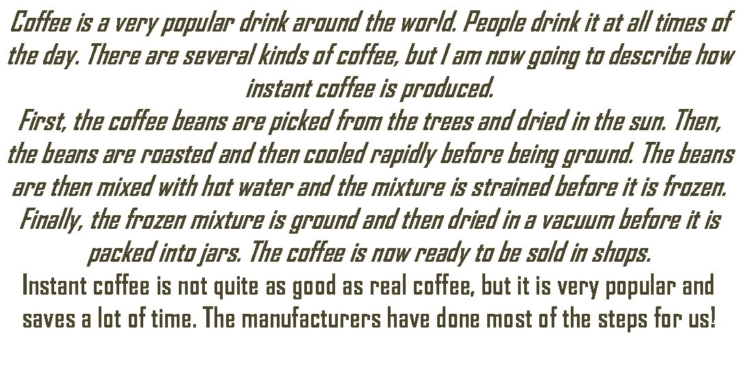 Coffee is a very popular drink around the world. People drink it at all