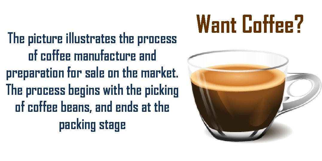 The picture illustrates the process of coffee manufacture and preparation for sale on the