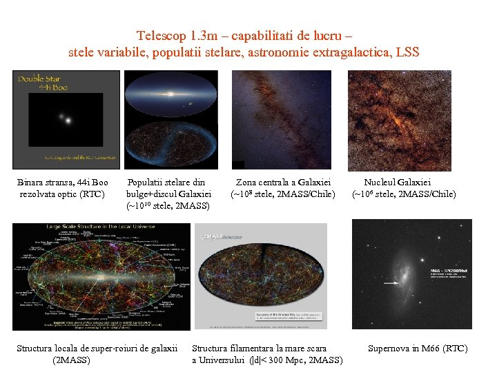 Telescop 1. 3 m – capabilitati de lucru – stele variabile, populatii stelare, astronomie