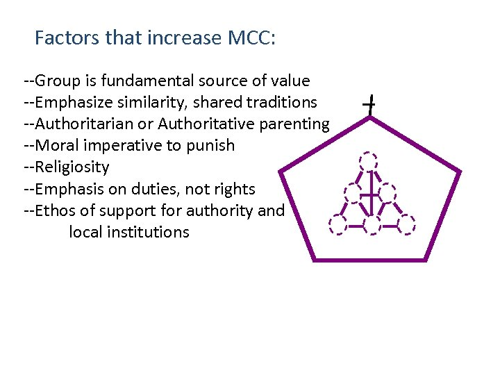 Factors that increase MCC: --Group is fundamental source of value --Emphasize similarity, shared traditions
