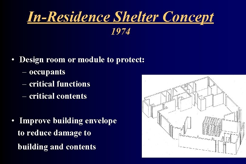 In-Residence Shelter Concept 1974 • Design room or module to protect: – occupants –