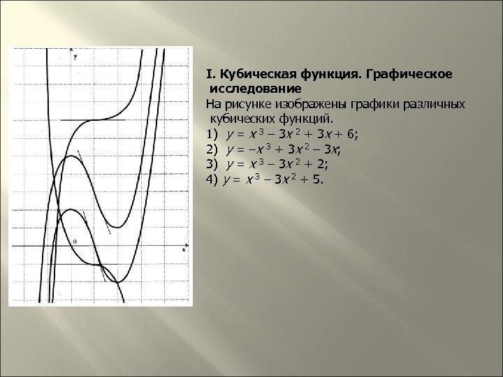 I. Кубическая функция. Графическое исследование На рисунке изображены графики различных кубических функций. 1) y