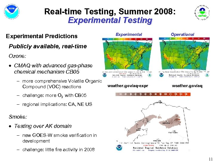 Real-time Testing, Summer 2008: Experimental Testing Experimental Predictions Experimental Operational Publicly available, real-time Ozone: