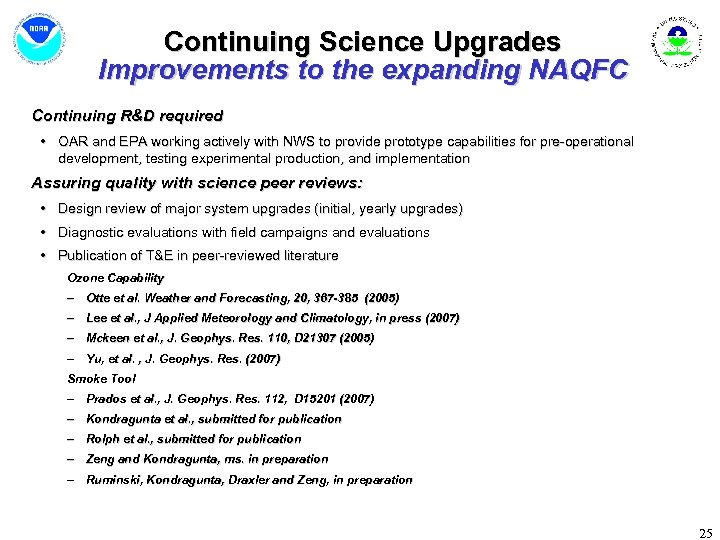 Continuing Science Upgrades Improvements to the expanding NAQFC Continuing R&D required • OAR and