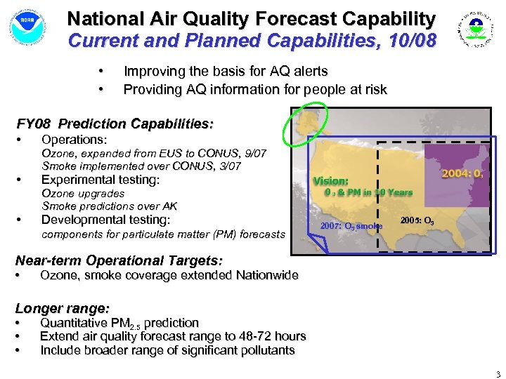 National Air Quality Forecast Capability Current and Planned Capabilities, 10/08 • • Improving the
