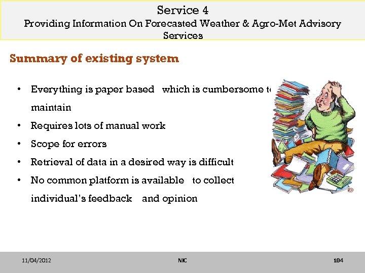 Service 4 Providing Information On Forecasted Weather & Agro-Met Advisory Services Summary of existing