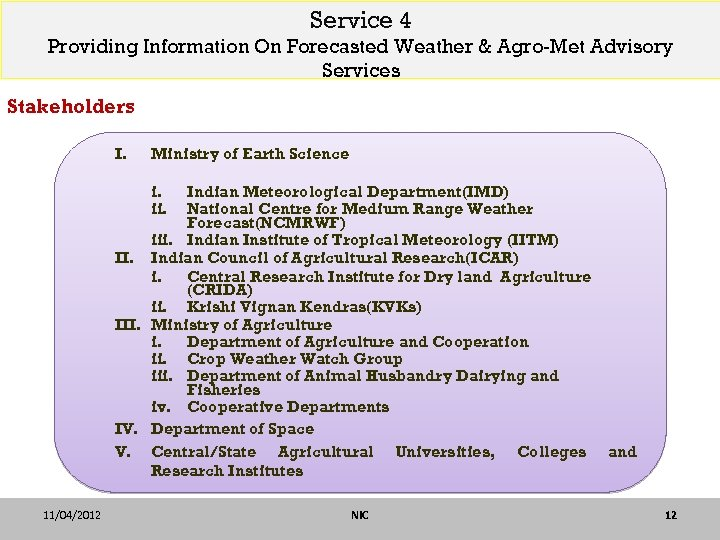 Service 4 Providing Information On Forecasted Weather & Agro-Met Advisory Services Stakeholders I. Ministry