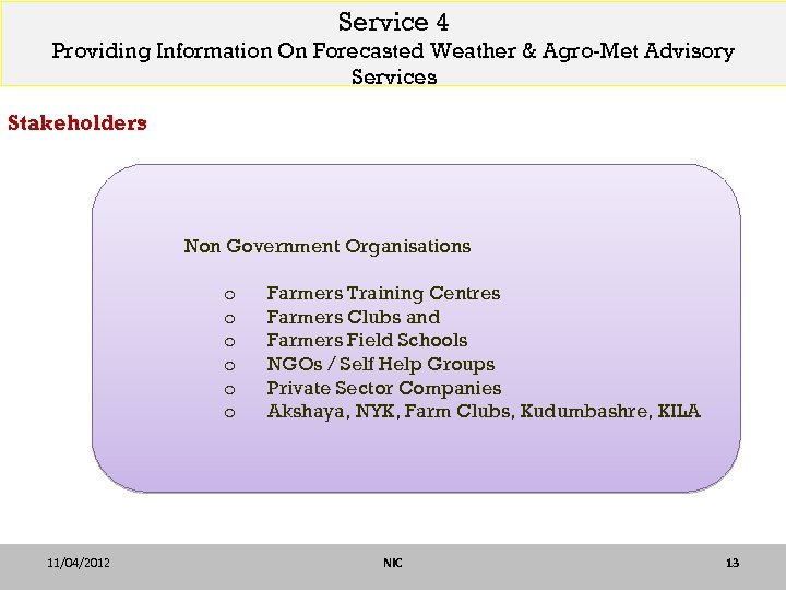 Service 4 Providing Information On Forecasted Weather & Agro-Met Advisory Services Stakeholders Non Government