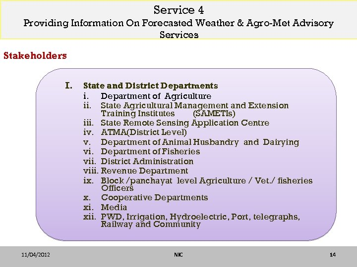 Service 4 Providing Information On Forecasted Weather & Agro-Met Advisory Services Stakeholders I. 11/04/2012