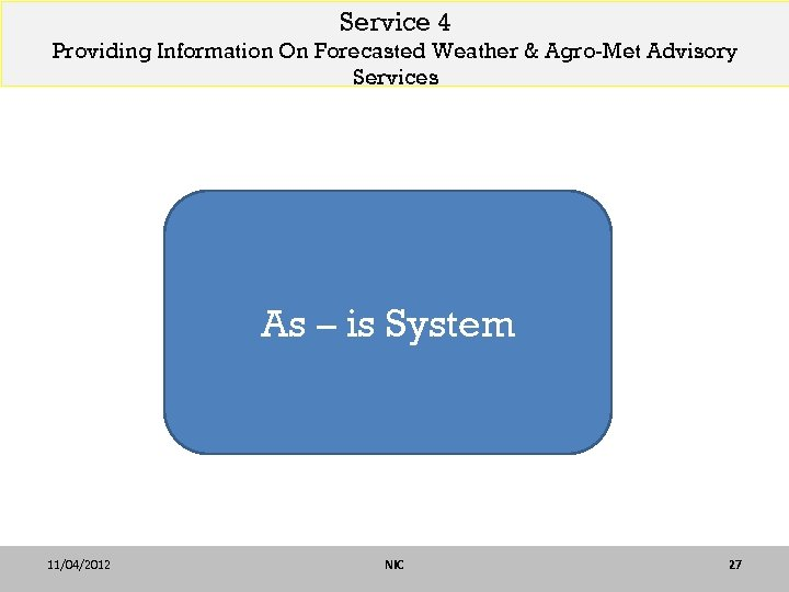 Service 4 Providing Information On Forecasted Weather & Agro-Met Advisory Services As – is