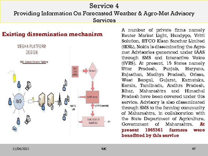 Service 4 Providing Information On Forecasted Weather & Agro-Met Advisory Services Existing dissemination mechanism