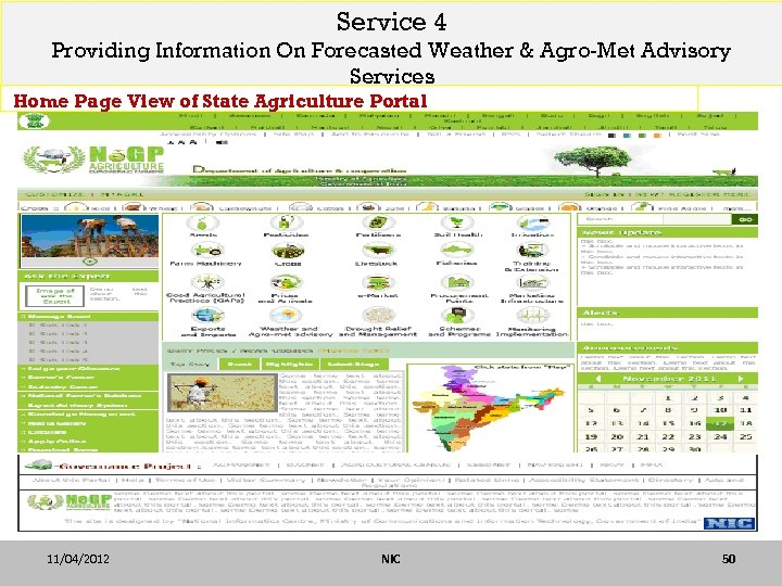 Service 4 Providing Information On Forecasted Weather & Agro-Met Advisory Services Home Page View