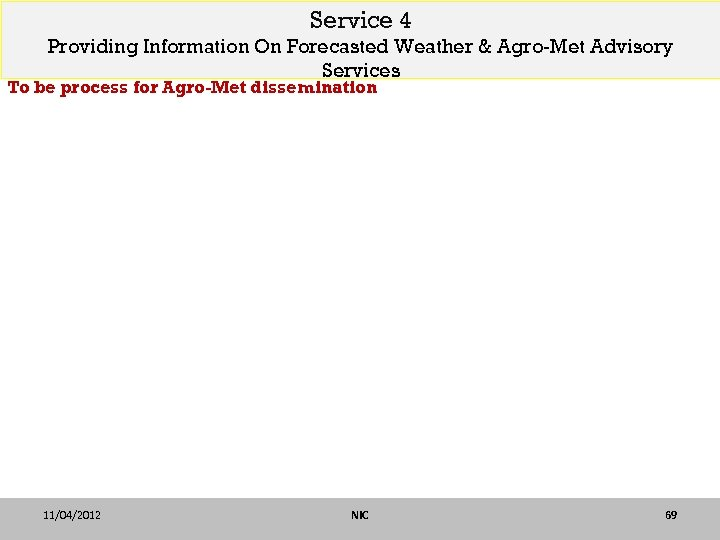 Service 4 Providing Information On Forecasted Weather & Agro-Met Advisory Services To be process